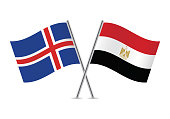 Iceland and Egypt flags. Vector illustration.