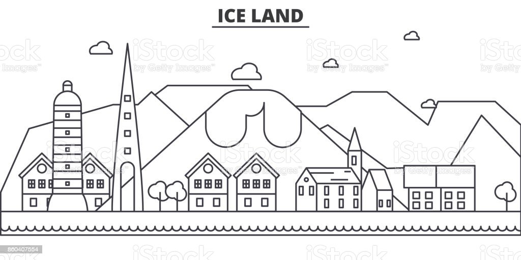 Iceland architecture line skyline illustration. Linear vector cityscape with famous landmarks, city sights, design icons. Editable strokes vector art illustration