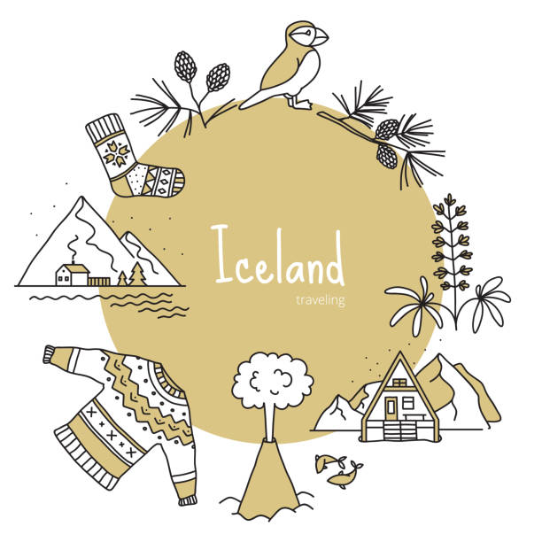 illustrazioni stock, clip art, cartoni animati e icone di tendenza di iceland, banner with scandinavian items - fiordi