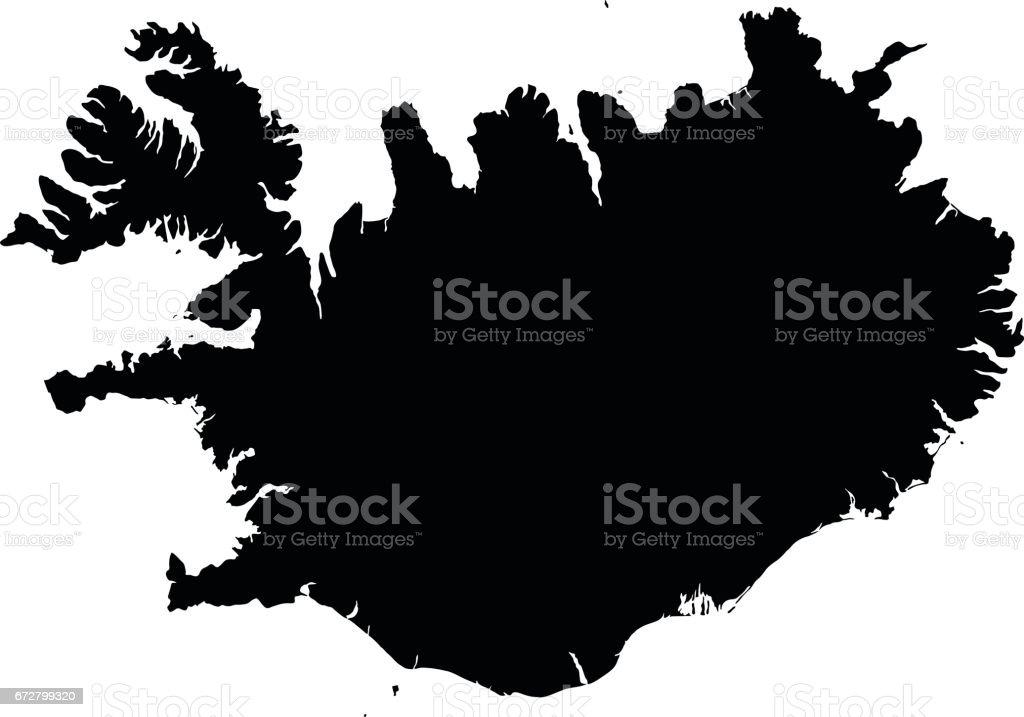 Iceland black map on white background vector vector art illustration