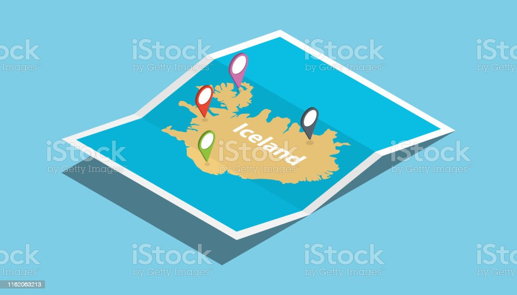 iceland explore maps with isometric style and pin location tag on top...