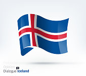 Vector waving flag illustration of Iceland for international dialogue and conflict management.