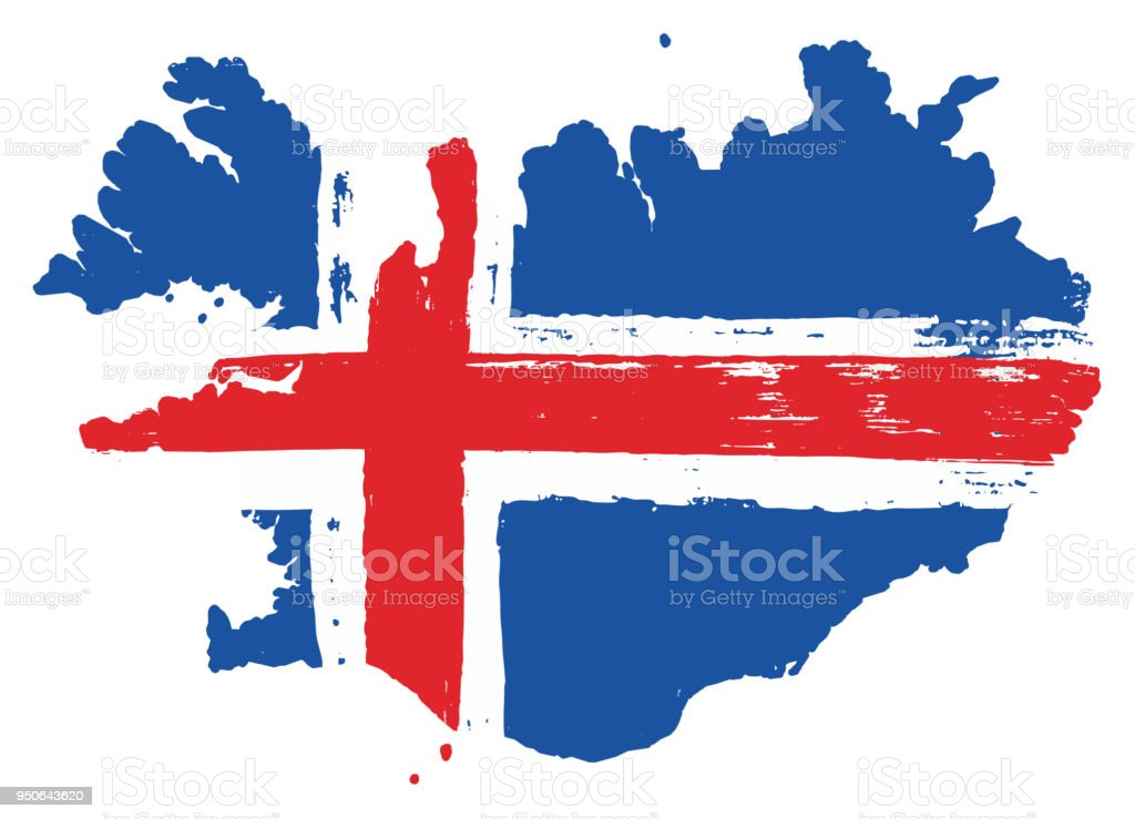 Iceland Flag Map Vector Hand Painted With Rounded Brush Stock Vector ...