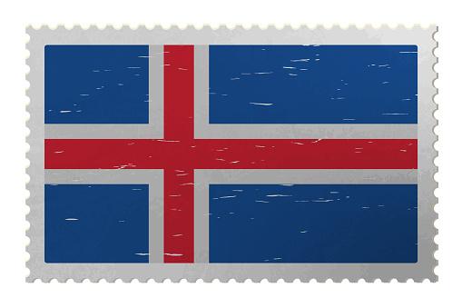 Iceland flag on old postage stamp, vector