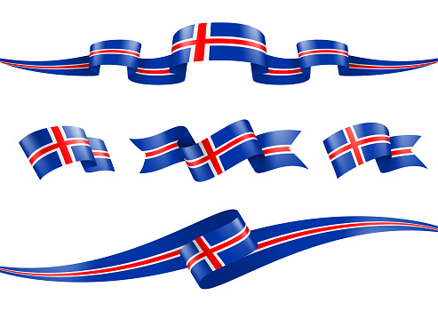 Iceland flag Ribbon Set - Vector Stock Illustration