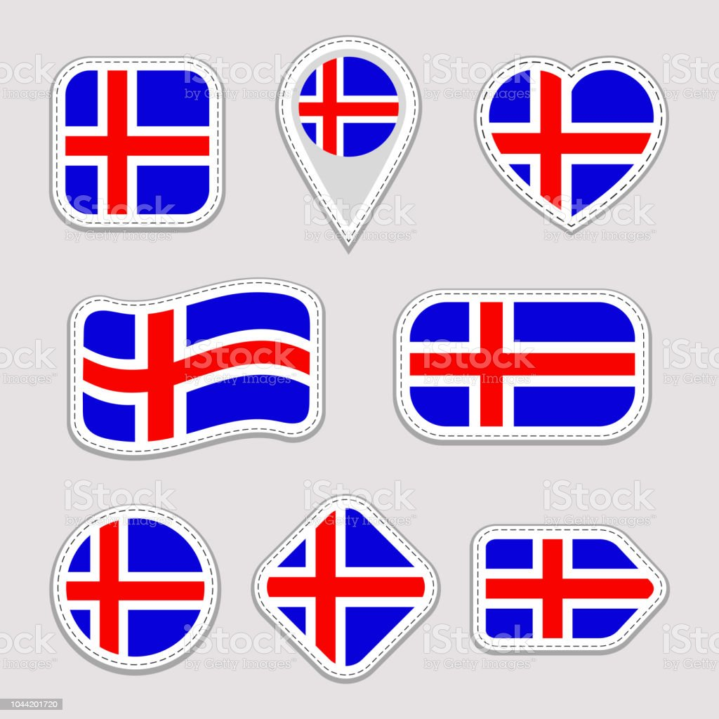 Iceland flag vector set icelandic national flags stickers isolated icons traditional colors