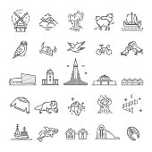 Iceland icons. Tourism and attractions, thin line design