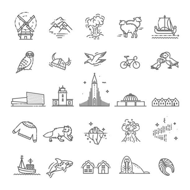 아이슬란드 아이콘입니다. 관광 명소, 얇은 라인 디자인 - mountain top stock illustrations