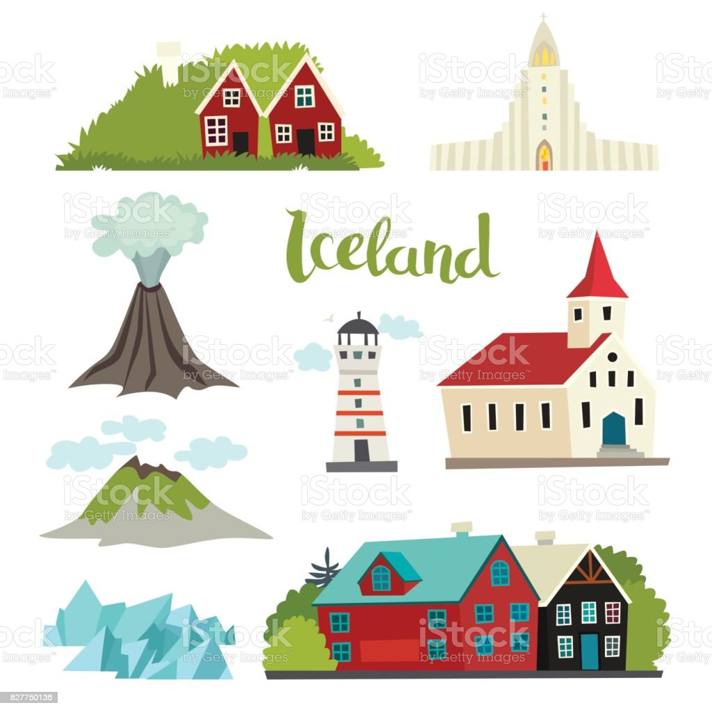 Iceland icons vector collection vector art illustration