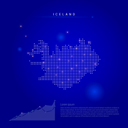 Iceland illuminated map with glowing dots. Dark blue space background. Vector illustration