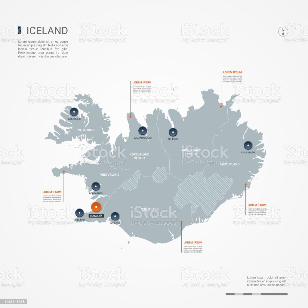 Iceland Infographic Map Vector Illustration Stock Vector Art & More ...