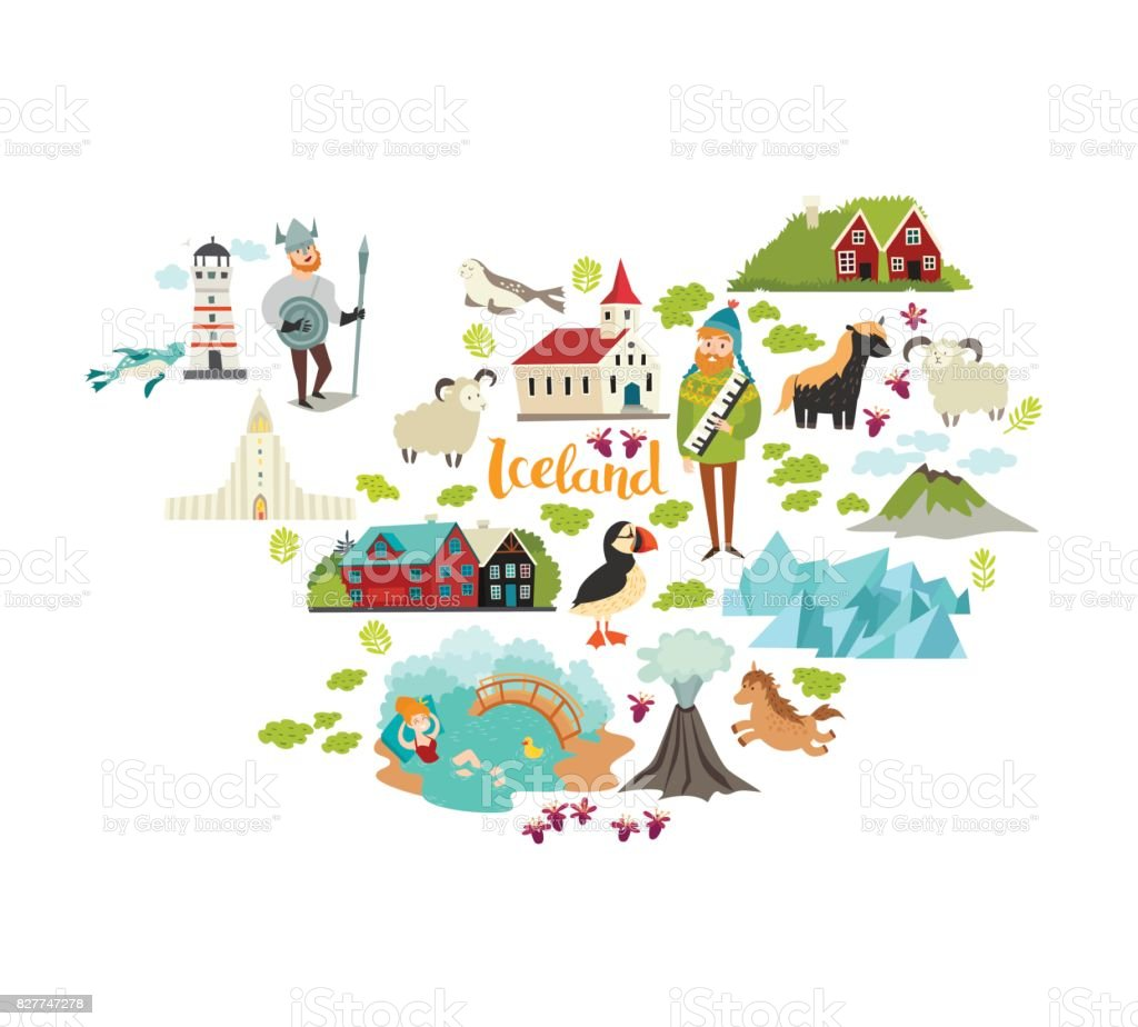 Iceland Landmarks Map Contour Stock Vector Art & More Images of ...