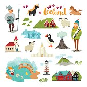Iceland landmarks vector icons set. Illustrated travel collection. Icelandic travel attraction. Church, houses, puffin, lighthouse and mountains isolated on white background