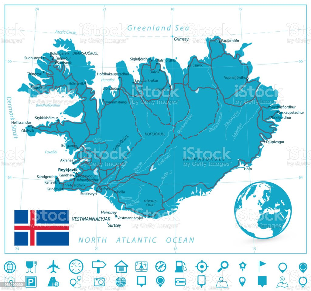 Iceland Map And Roads With Navigation Icons Stock Vector Art & More ...