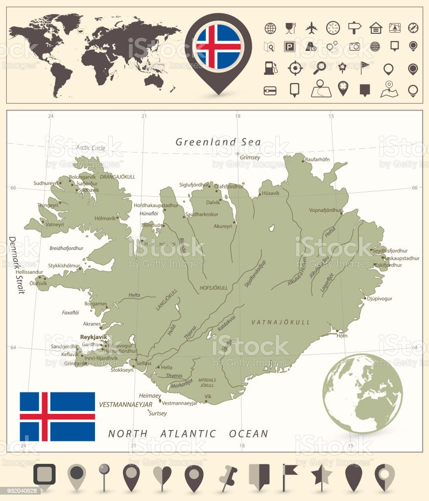 Iceland map and world map with navigation icons stock vector art iceland map and world map with navigation icons royalty free iceland map and world map gumiabroncs Choice Image