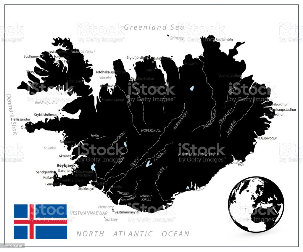 Iceland Map Black Color Stock Vector Art & More Images of Abstract ...