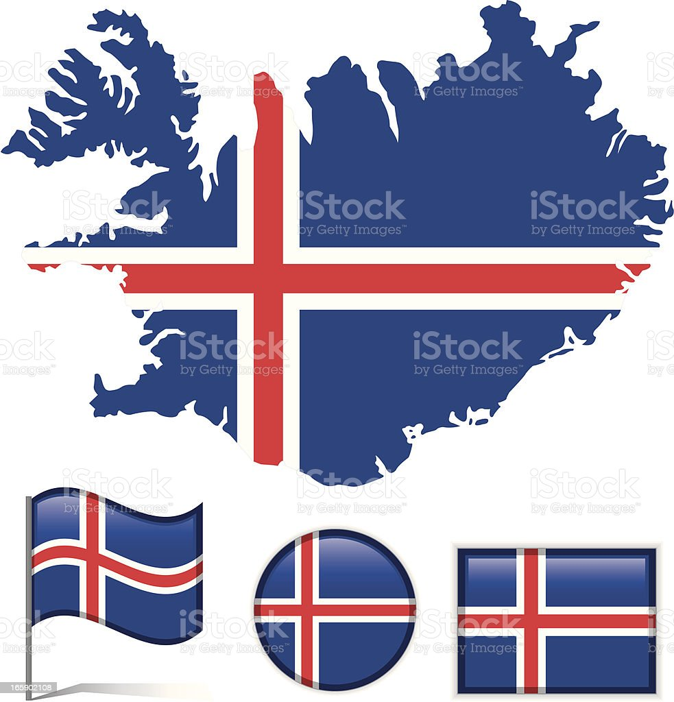 Iceland map & flag royalty-free stock vector art