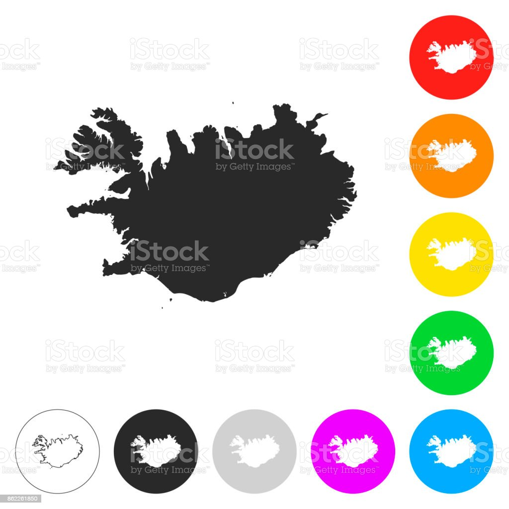 Iceland map - Flat icons on different color buttons vector art illustration