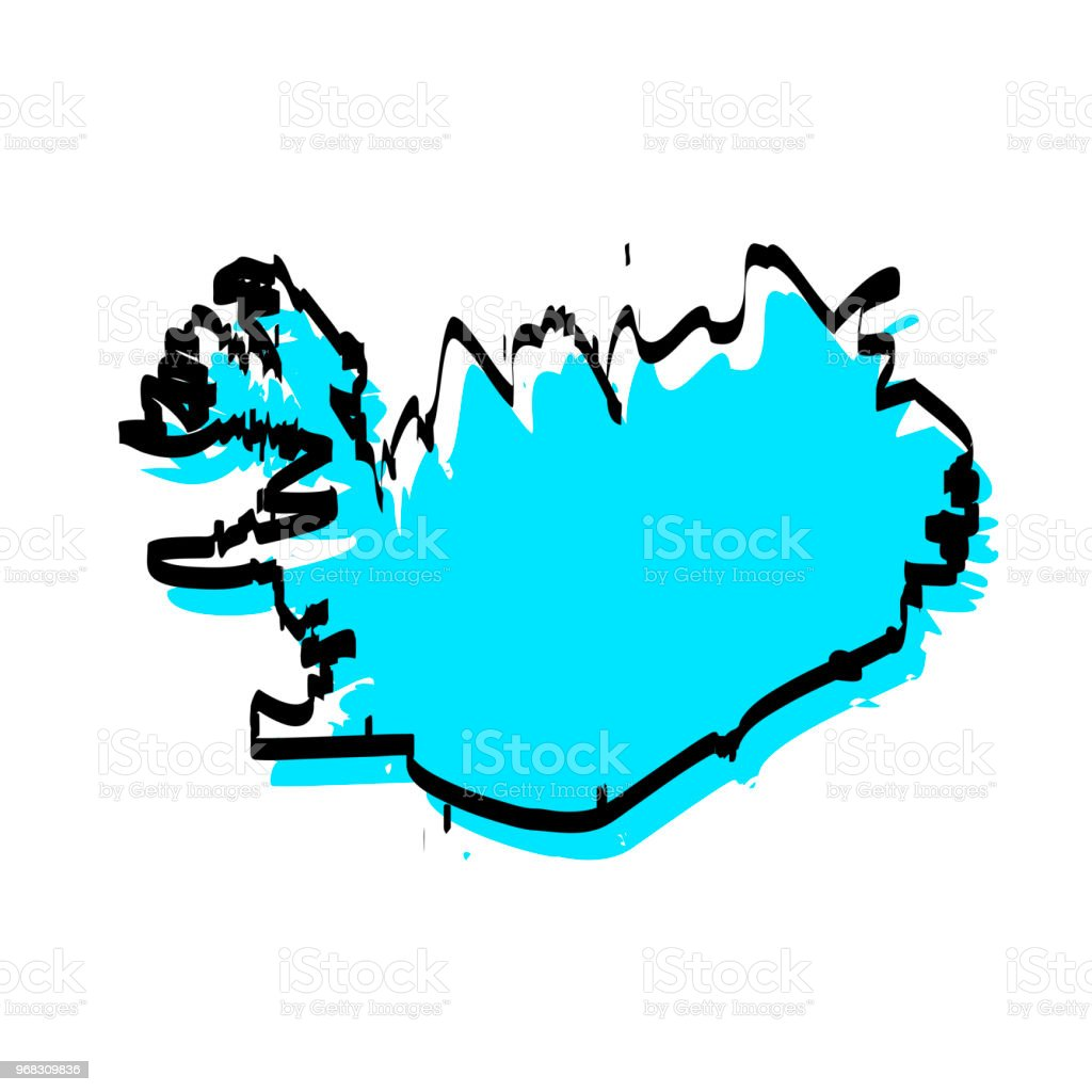 Iceland Map Hand Drawn On White Background Trendy Design Stock ...