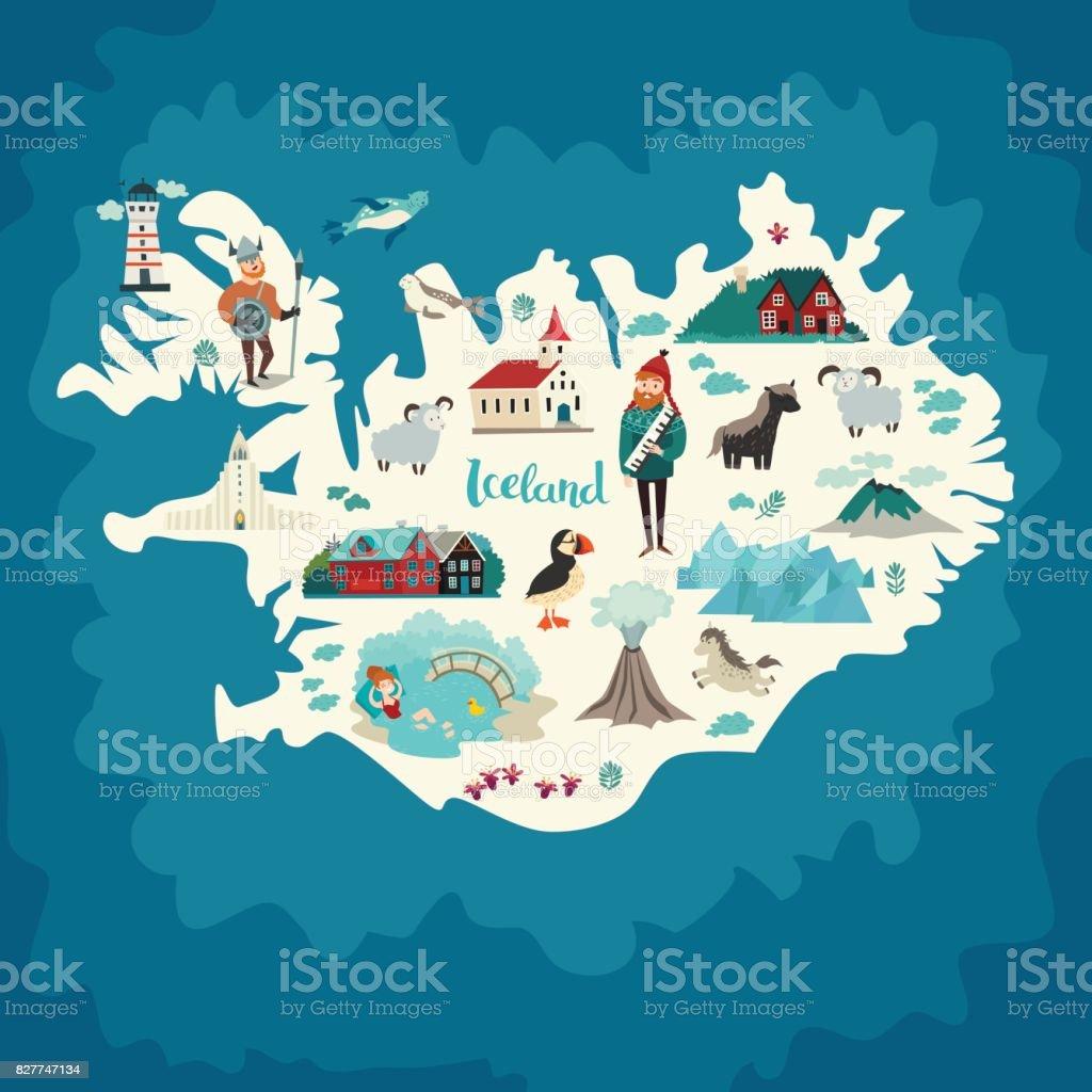 Iceland Map Landmarks stock vector art 827747134 iStock