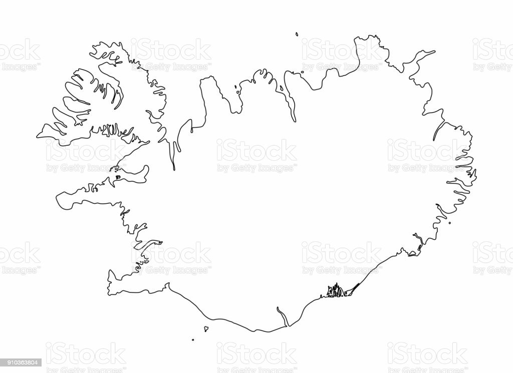Iceland Map Outline Graphic Freehand Drawing On White ...