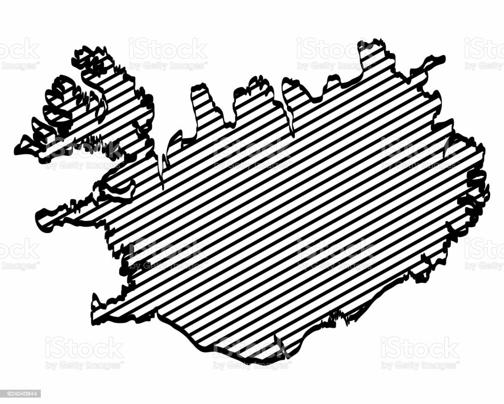Iceland Map Outline Graphic Freehand Drawing On White Background ...