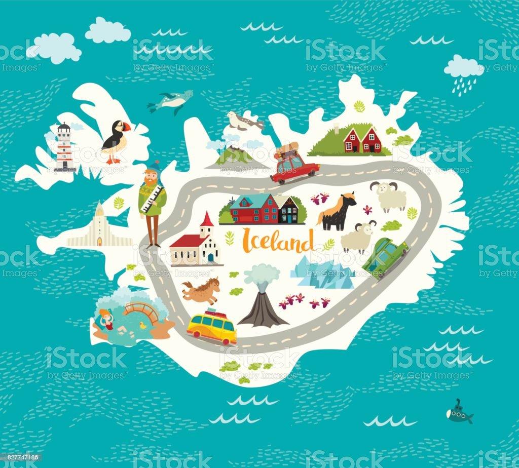 Ilustração em vetor mapa Islândia. - ilustração de arte em vetor