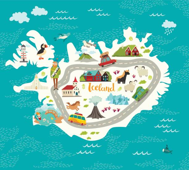 island karte vektor-illustration. - iceland stock-grafiken, -clipart, -cartoons und -symbole