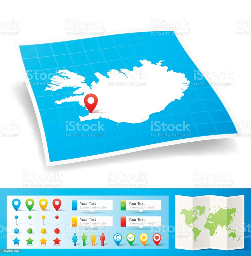 Iceland Map with location pins isolated on white Background vector art illustration