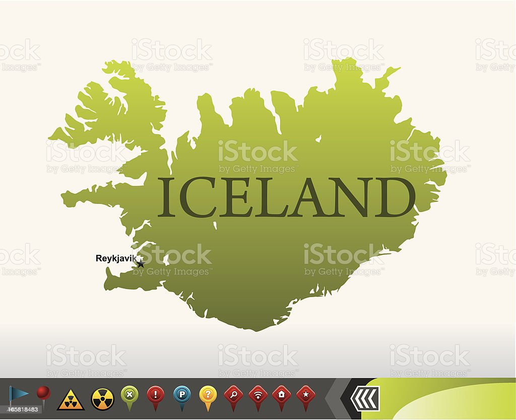 Iceland map with navigation icons royalty-free iceland map with navigation icons stock vector art & more images of blue