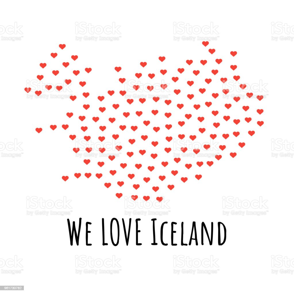 Iceland Map With Red Hearts Symbol Of Love Abstract Background Stock