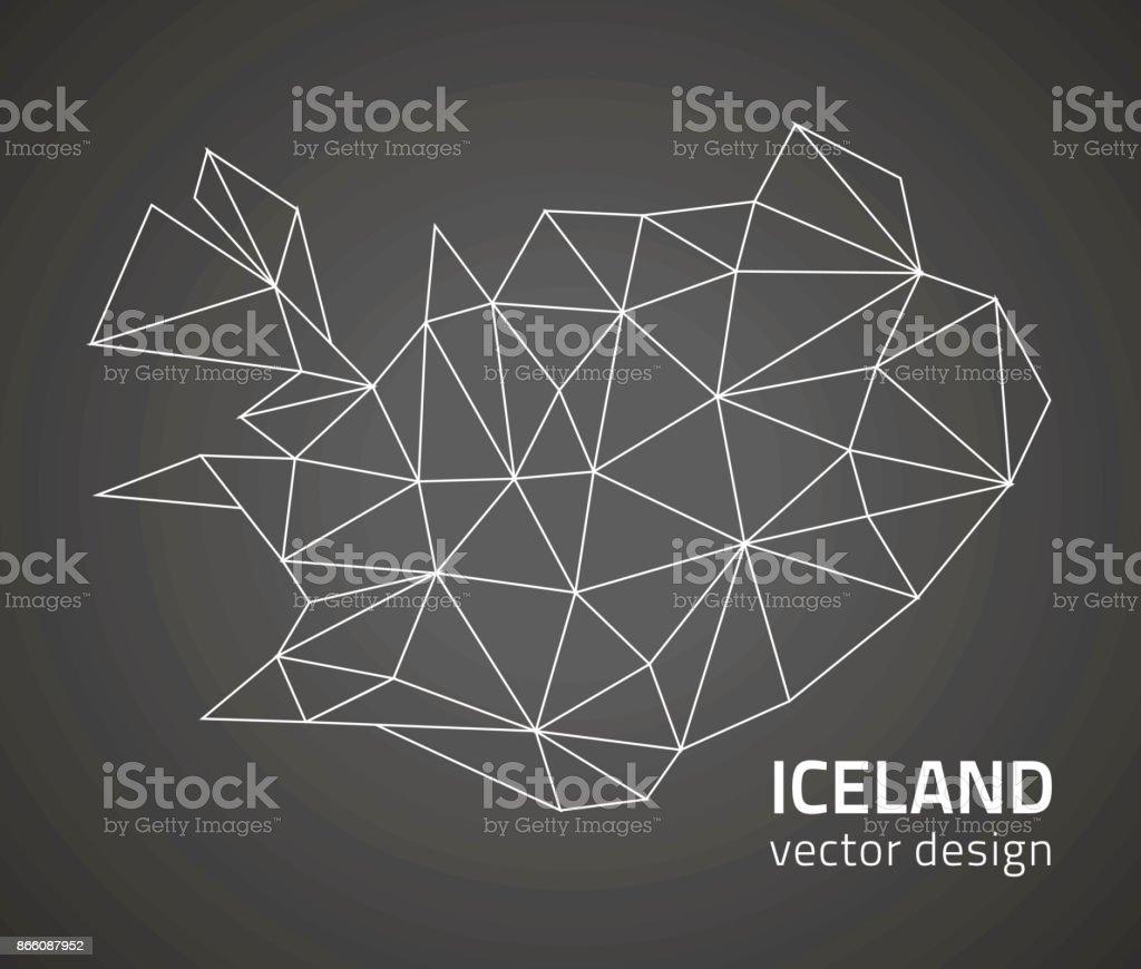 Iceland outline vector polygonal map vector art illustration
