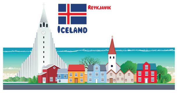 Iceland, Reykjavik City Vector Iceland, Reykjavik City Hallgrímskirkja church stock illustrations
