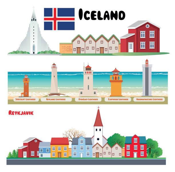 Iceland Symbols Vector Iceland Symbols Hallgrímskirkja church stock illustrations