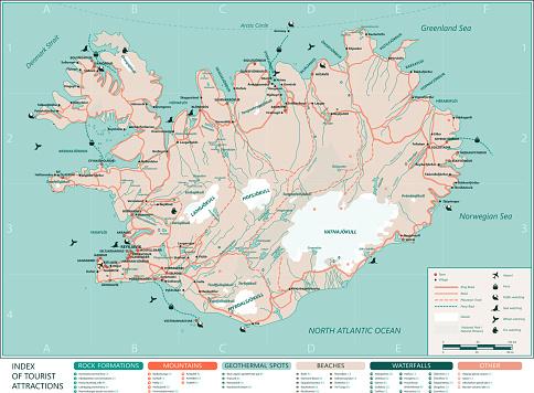 Iceland tourist map