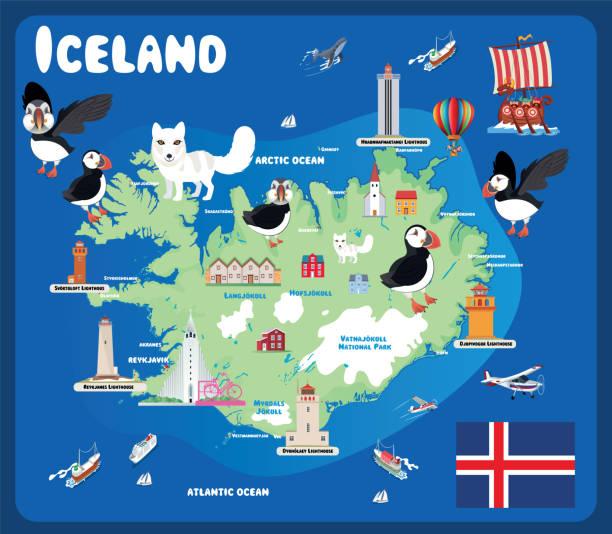 Iceland Travel Map Vector, Iceland Travel Map I have used http://legacy.lib.utexas.edu/maps/world_maps/world_physical_2015.pdf Hallgrímskirkja church stock illustrations