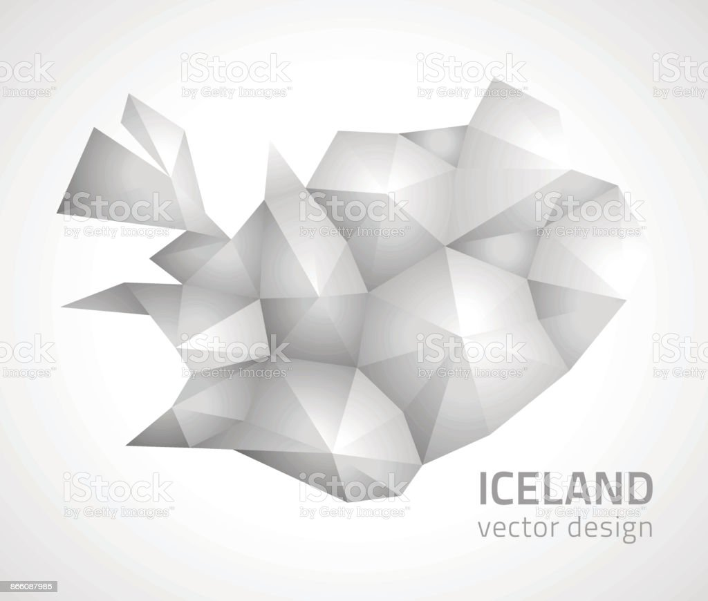 Iceland vector 3d polygonal map vector art illustration
