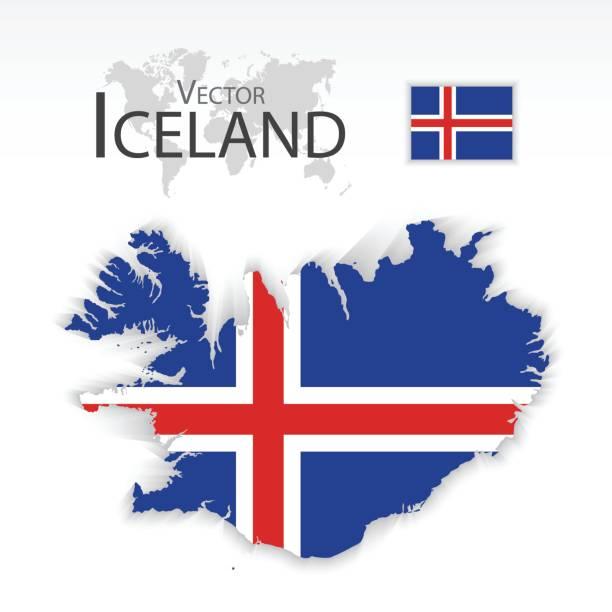 Island (Republik) (Flagge und Karte) (Transport und Tourismus-Konzept) – Vektorgrafik