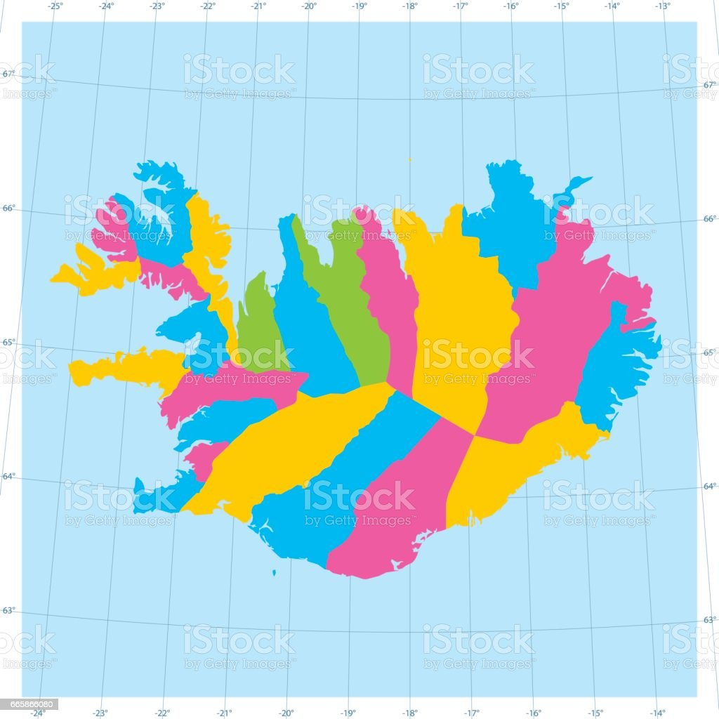 アイスランド ベクトル地図カラ...
