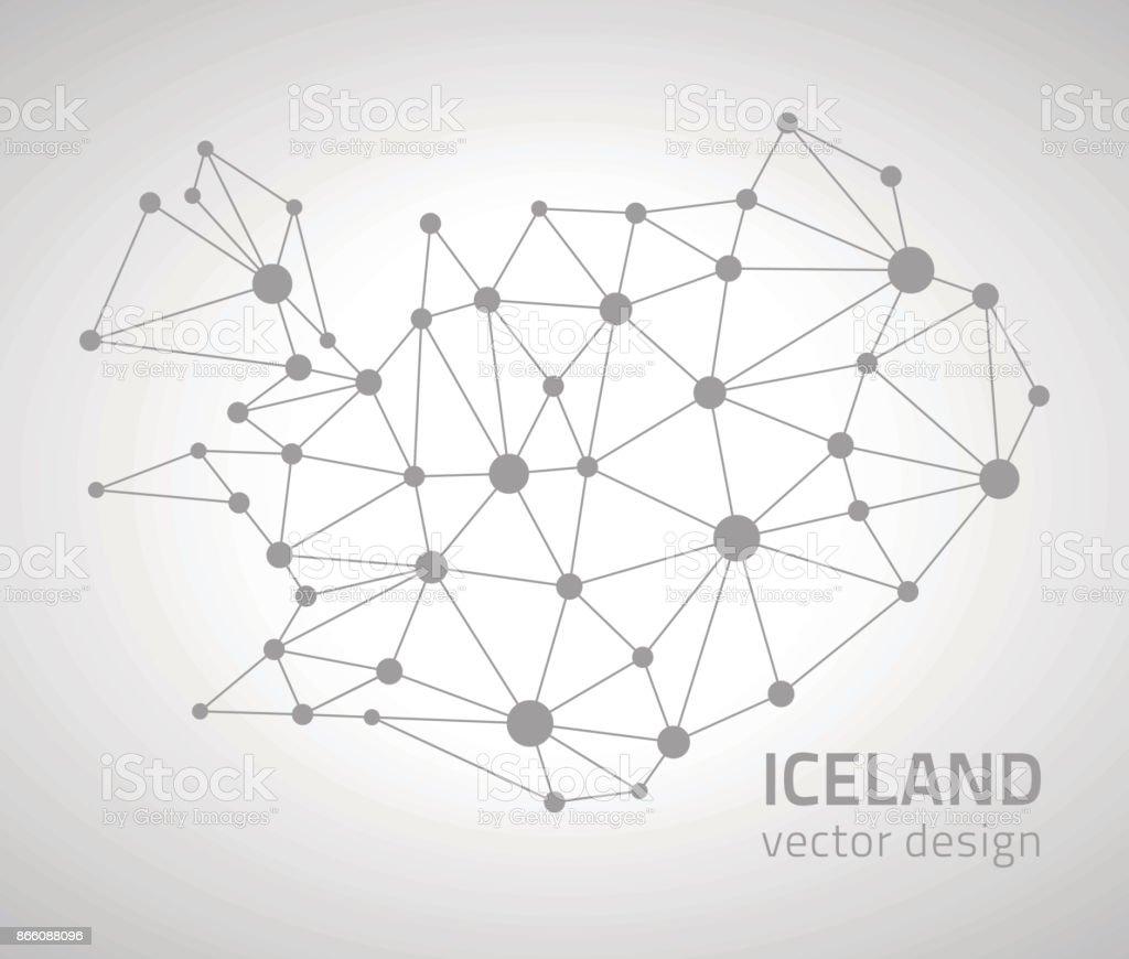 Iceland vector outline polygonal map vector art illustration
