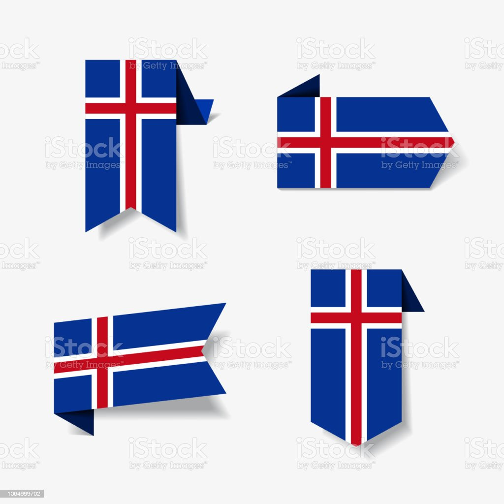 Icelandic flag stickers and labels vector illustration royalty free icelandic flag stickers and