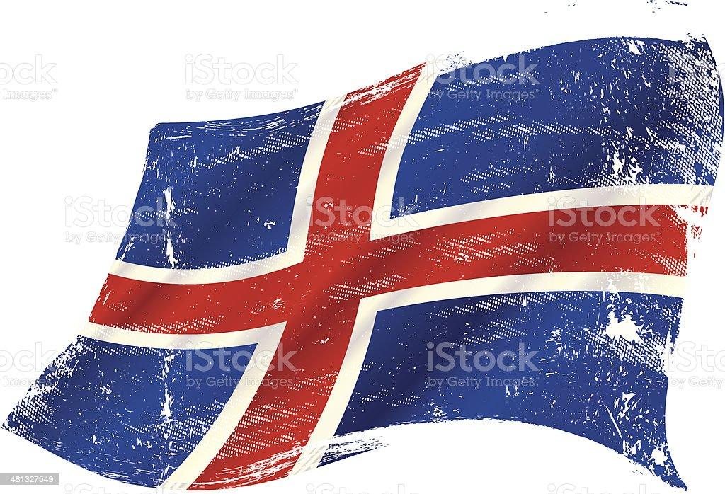 icelandic grunge flag vector art illustration