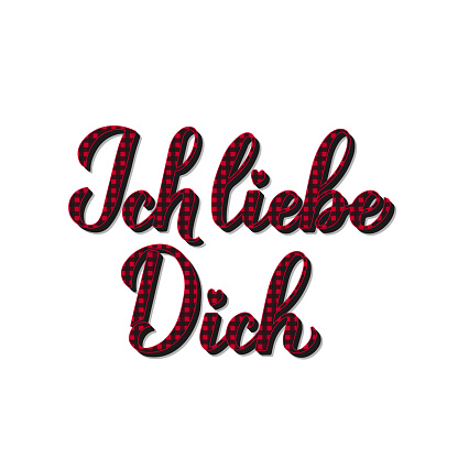 Ich liebe Dich calligraphy hand lettering. I Love You in German. Red buffalo pattern. Valentines day typography poster. Vector template for banner, greeting card, t shirt, flyer, sticker, etc