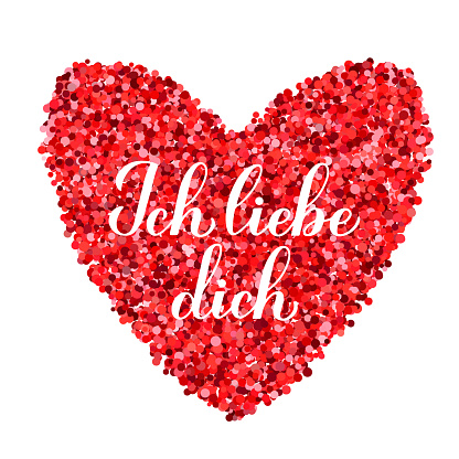 Ich liebe Dich calligraphy hand lettering. I Love You inscription in German. Valentines day greeting card. Vector template for banner, typography poster, t shirt, logo design, flyer, sticker, etc