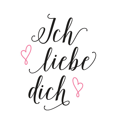 Ich Liebe Dich Lettering With Confession Stock Vektor Art