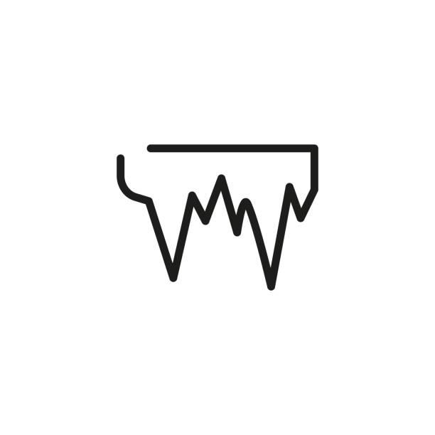 eiszapfen liniensymbol - eiszapfen stock-grafiken, -clipart, -cartoons und -symbole