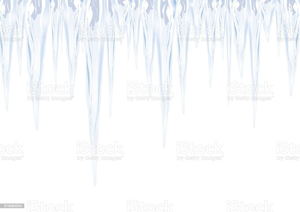 icicles as a sign of cold winter hanging down vector art illustration