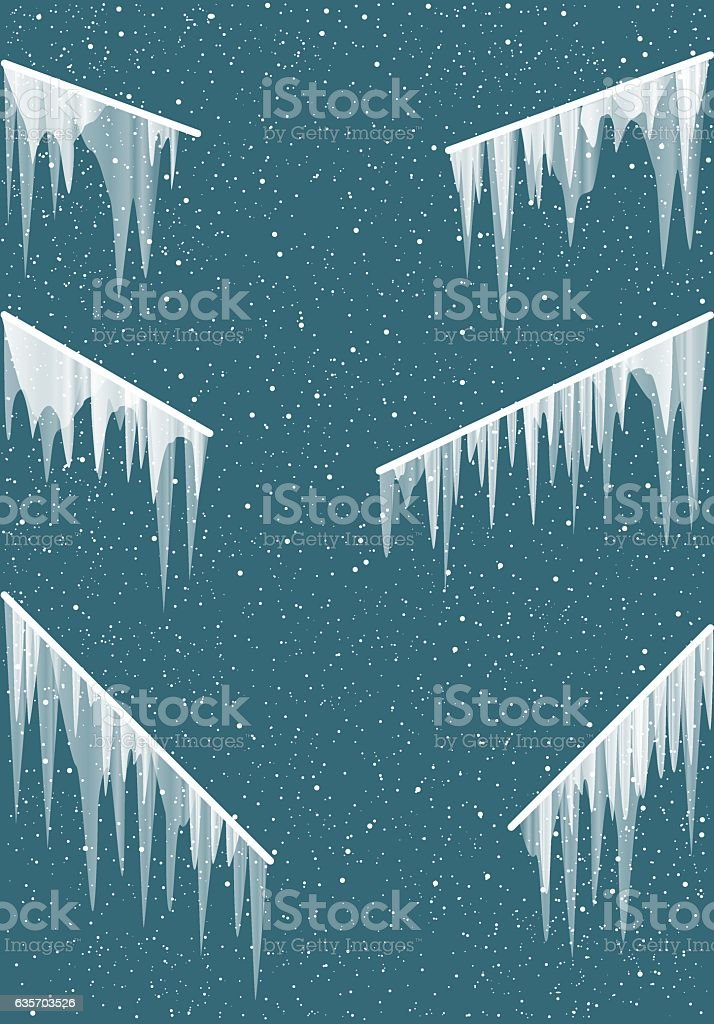 Icicles on the railing vector art illustration