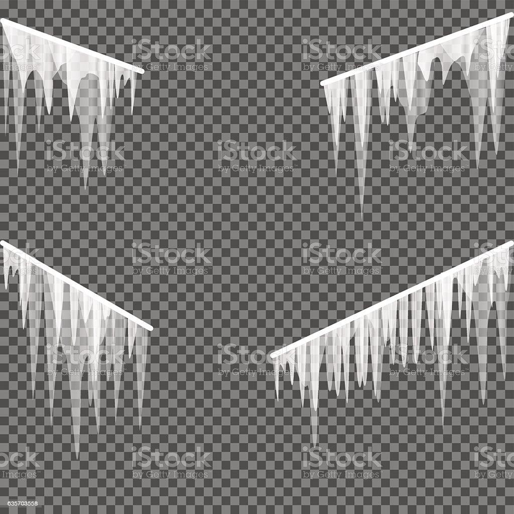 icicles railing transparent background vector art illustration