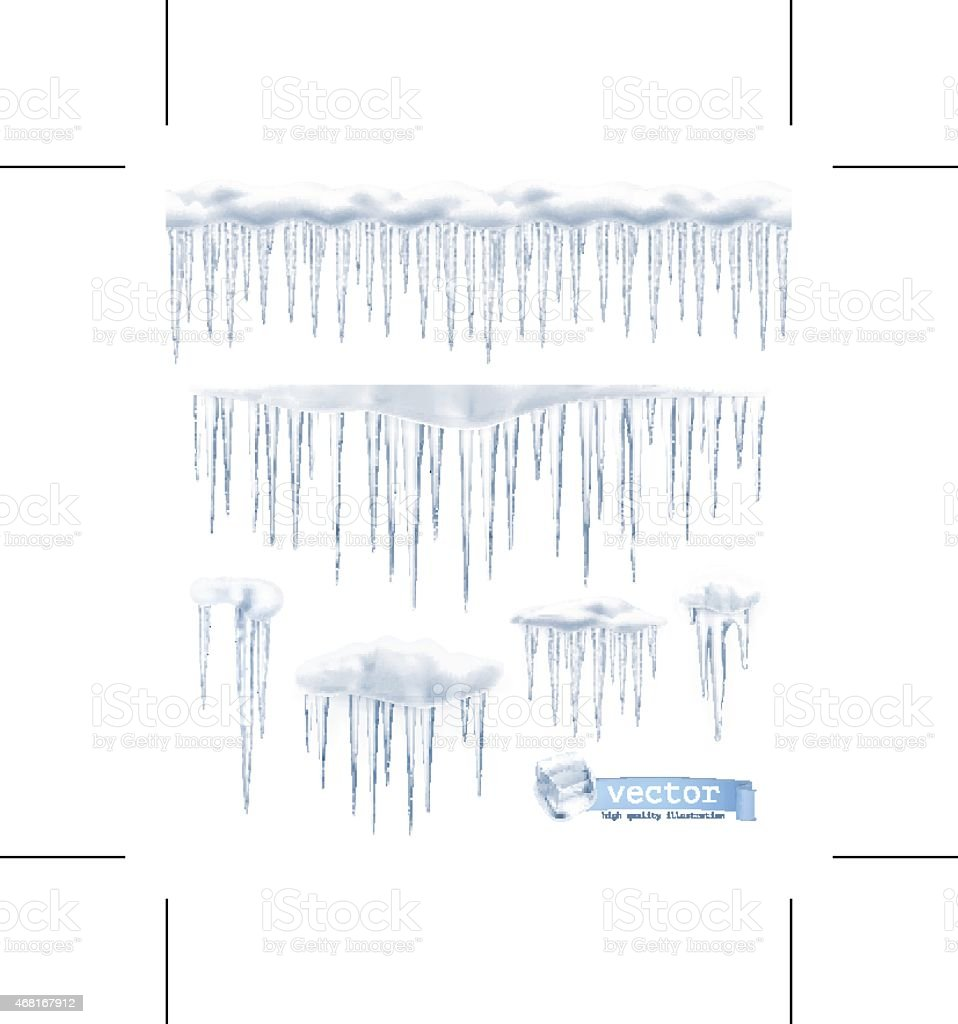 Icicles, set vector vector art illustration